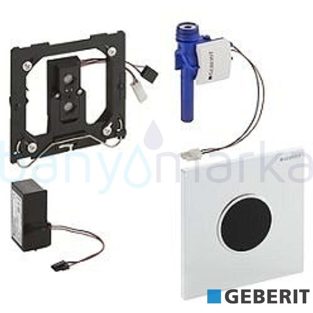 Geberit Sigma10 Fotoselli Pisuar Yıkama Sistemi, Elektrikli, Siyah/Parlak Krom