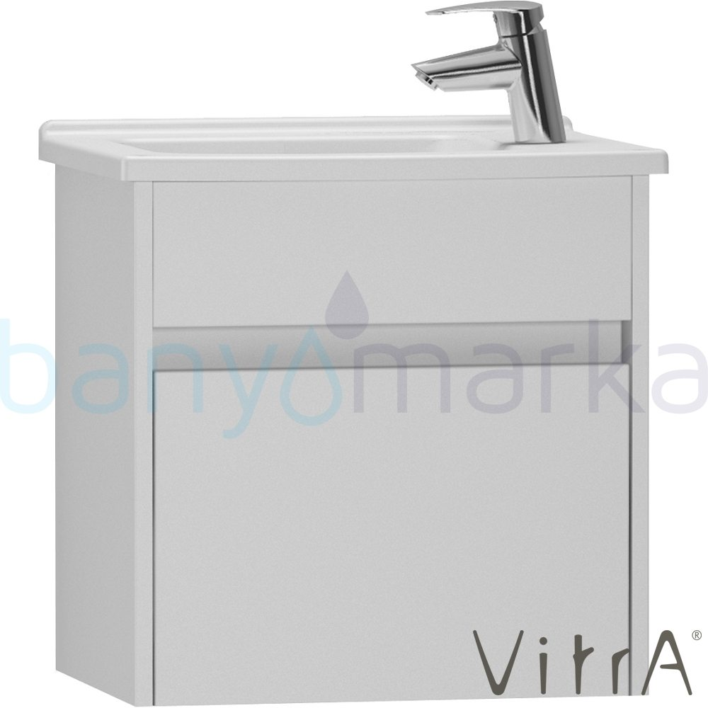 vitra s50 lavabo dolab dar 50 cm sol parlak beyaz. Black Bedroom Furniture Sets. Home Design Ideas