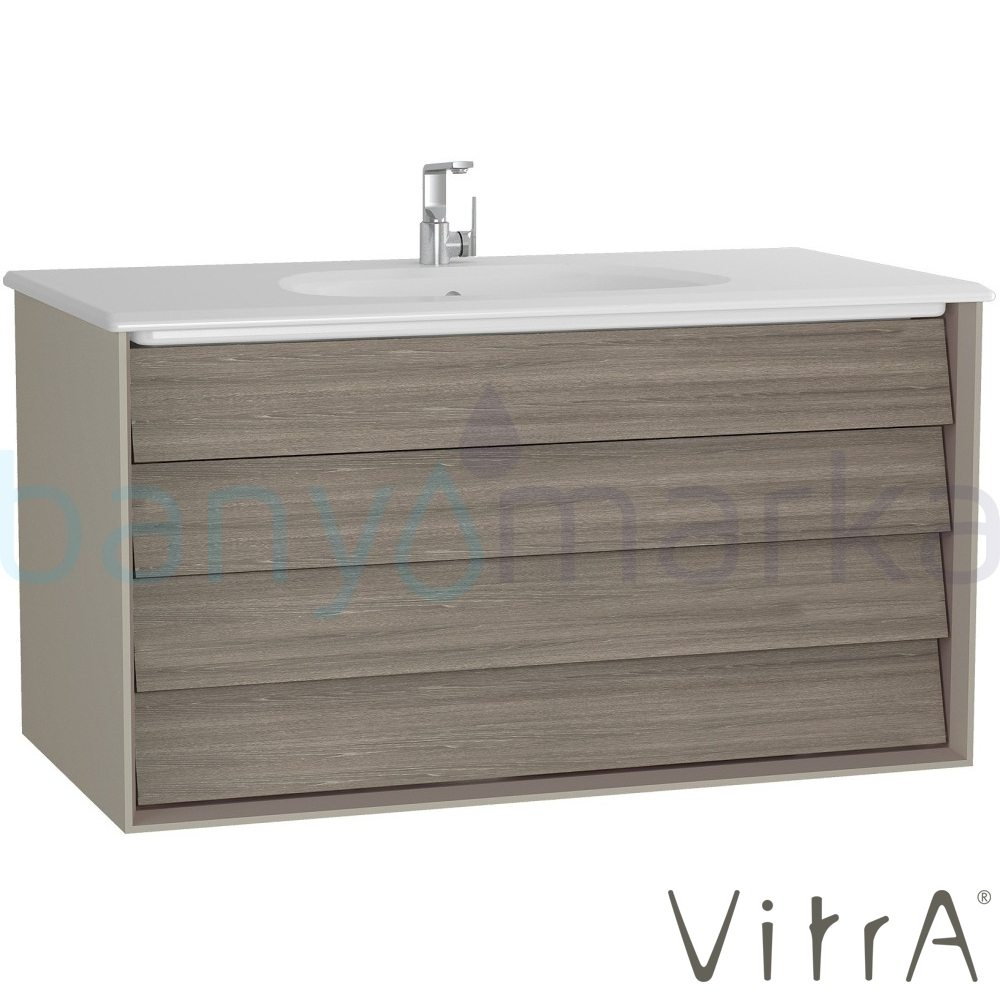Vitra Frame Çift Çekmeceli Lavabo Dolabı, 100 cm, Mat Bej-Moka Meşe (5708 Beyaz Lavabo Dahil)