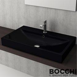 Bocchi - BOCCHI Scala Arch Tezgah Üstü Lavabo, 80 cm, Parlak Siyah