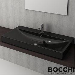Bocchi - BOCCHI Scala Arch Tezgah Üstü Lavabo, 100 cm, Parlak Siyah
