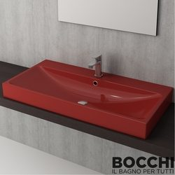 Bocchi - BOCCHI Scala Arch Tezgah Üstü Lavabo, 100 cm, Kırmızı