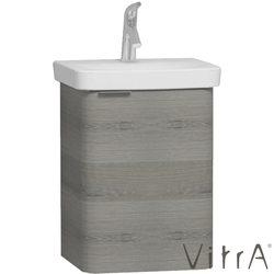 Vitra - Vitra Nest Kapaklı Lavabo Dolabı (Sağ), 45 cm, Gri Dokulu Ahşap (Lavabo dahil)