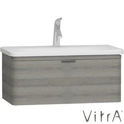 Vitra - Vitra Nest Trendy Tek Çekmeceli Lavabo Dolabı, 80 cm, Gri Dokulu Ahşap (Lavabo Dahil)