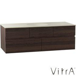 Vitra - Vitra Memoria Lavabo Dolabı, 120 cm (Seramik Lavabolu), Soldan Artmatür Delikli, Mat Ceviz
