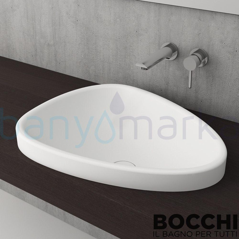 BOCCHI Etna Tezgah Üstü Lavabo, 58 cm, Mat Beyaz