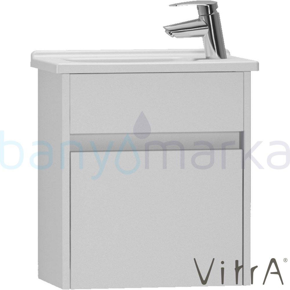 Vitra S50+ Lavabo Dolabı (Dar), 45 cm (Sol) Parlak Beyaz (Lavabo Dahil)