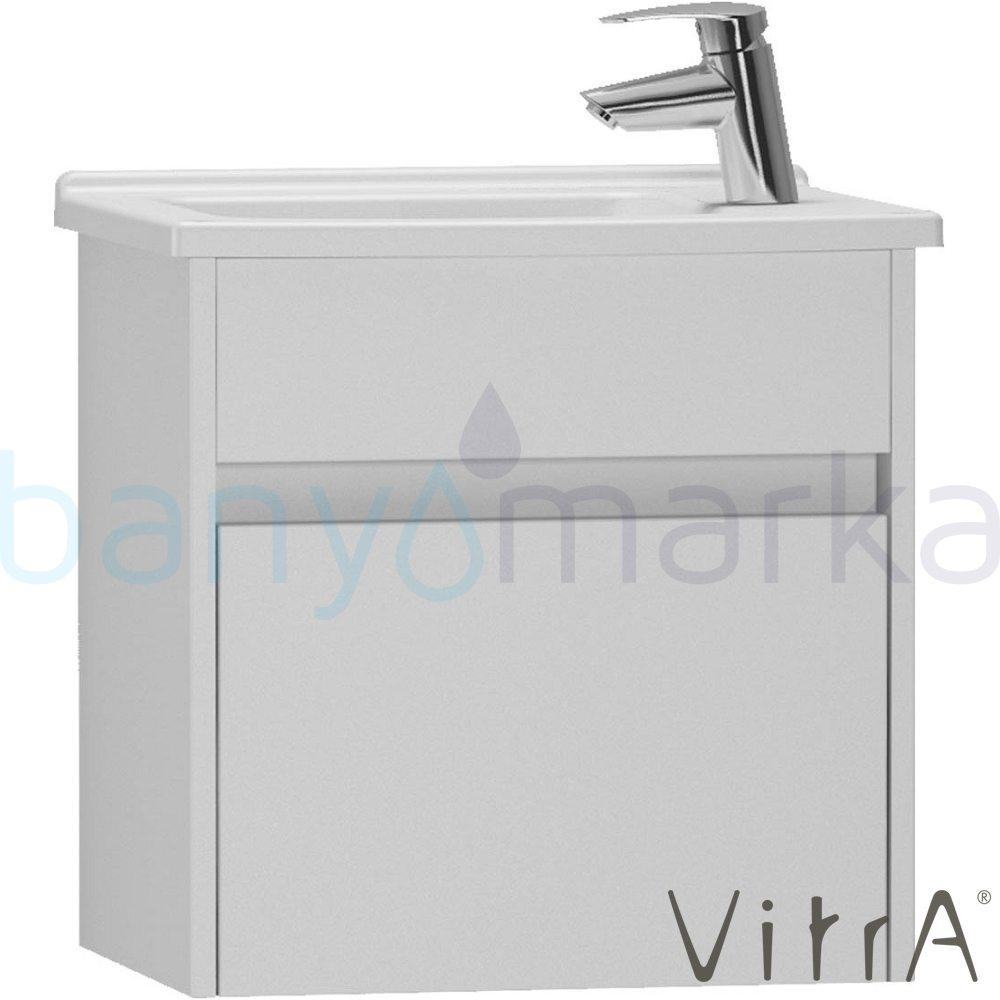 Vitra S50+ Lavabo Dolabı (Dar), 50 cm (Sağ) Parlak Beyaz (Lavabo Dahil)