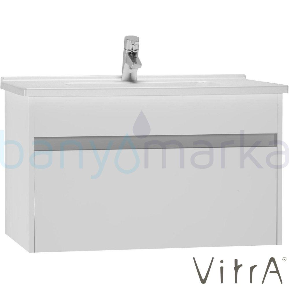 Vitra S50+ Lavabo Dolabı 80 cm, Parlak Beyaz (Lavabo Dahil)