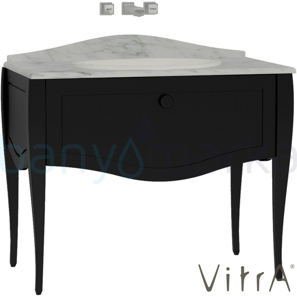 Vitra Elegance Lavabo Dolabı 100 Cm Tezgah Üstü Lavabolu Mat Siyah