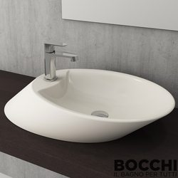 Bocchi - BOCCHI Milano Batarya Banklı Çanak Lavabo, 56 cm, Bisküvi