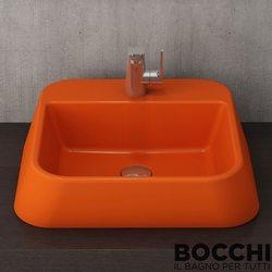 Bocchi - BOCCHI Elba Batarya Banklı Çanak Lavabo, 42 cm, Turuncu