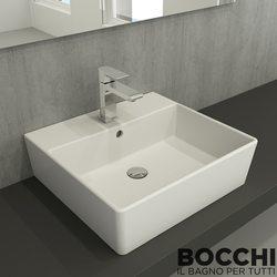 Bocchi - BOCCHI Milano Batarya Banklı Çanak Lavabo, 50 cm, Mat Beyaz