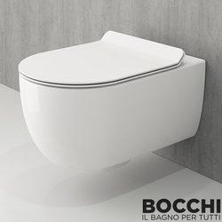 Bocchi - BOCCHI V-Tondo Rimless Kanalsız Asma Klozet, Parlak Beyaz