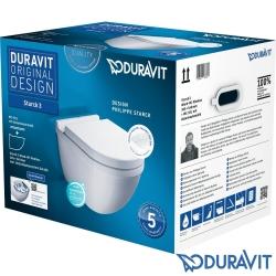 Duravit - Duravit Starck 3 Kanalsız Rimless HygieneGlaze Asma Klozet (Özel Kutuda, Yavaş Kapanır Kapak Dahil)