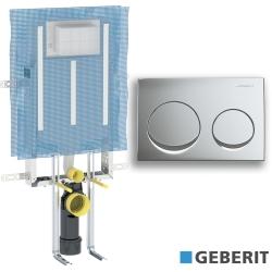 Geberit - Geberit Alpha Gömme Rezervuar Metal Ayaklı Set, İnce (Mat Krom Kumanda Paneli Dahil)