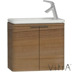Vitra - Vitra Nest Trendy Dar Lavabo Dolabı, 60 cm, Hareli Doğal Ahşap (Lavabo Dahil)