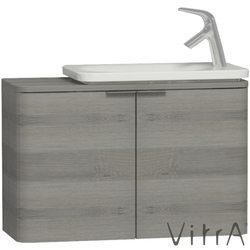 Vitra - Vitra Nest Trendy Dar Lavabo Dolabı, 80 cm, Gri Dokulu Ahşap (Lavabo Dahil)