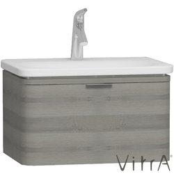 Vitra - Vitra Nest Trendy Tek Çekmeceli Lavabo Dolabı, 60 cm, Gri Dokulu Ahşap (Lavabo Dahil)