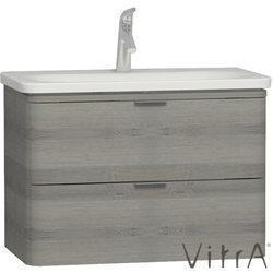 Vitra - Vitra Nest Trendy Çift Çekmeceli Lavabo Dolabı, 80 cm, Gri Dokulu Ahşap (Lavabo Dahil)