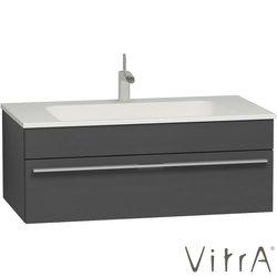Vitra - Vitra System-Infinit Lavabo Dolabı, 100 cm, Parlak Antrasit, Bel Kulp (Gizli Sifonlu Lavabo Dahil)