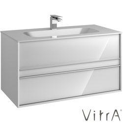 Vitra - Vitra Metropole Lavabo Dolabı, 2 Çekmeceli, Infinit lavabolu, 100 cm, Parlak Beyaz