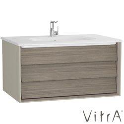 Vitra - Vitra Frame Lavabo Dolabı, 80 cm, Lavabolu, Mat Siyah-Hareli Meşe (5708 Beyaz Lavabo Dahil)